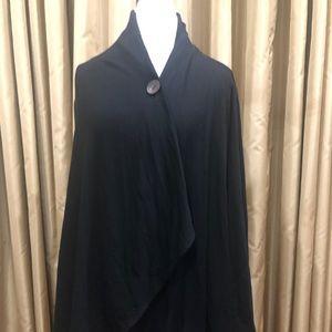 Bobeau One-Button Fleece Cardigan Women's 1X